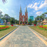Park in front of Ho Chi Minh city Notre Dame