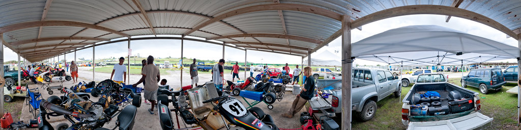 Bushy Park race track - carts in pits
