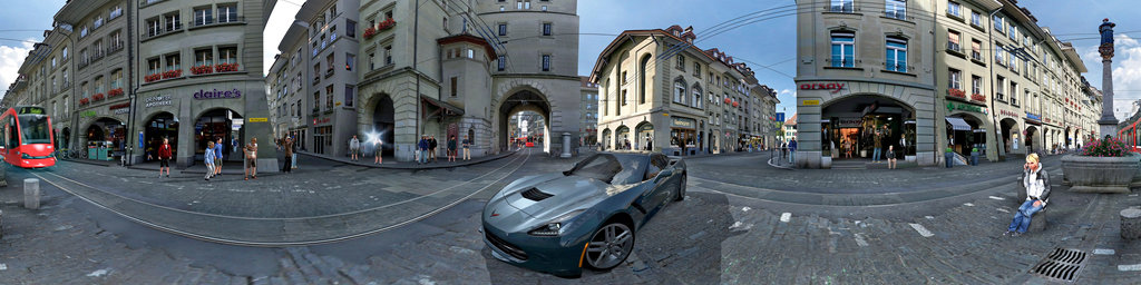 Gran Turismo screenshot - Corvette at Bern market street