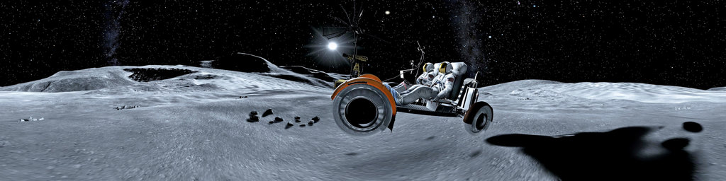 Gran Turismo screenshot - lunar rover on moon jumps over crater