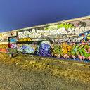 SoDo Free Graffiti Wall, Purple Man and Rabbit, Seattle, WA