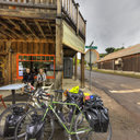 Joy and Aaron, Cycling Across America, Little Pine Café, Mitchell, OR