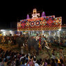 Elephants Leaving the Pakal Pooram at the Thirunakkara Mahadevar temple in Kottayam