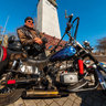Bikers near Kherson Shipbuilders monument