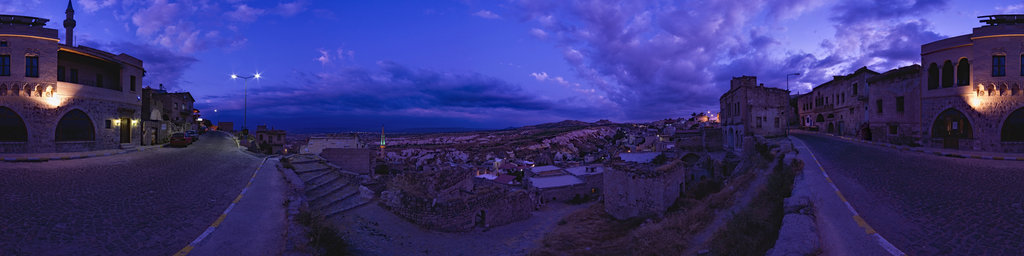 Uçhisar after sunset, Cappadocia, Turkey