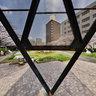 三角塔と桜の木
