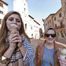 Eating gelati in San Gimignano
