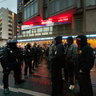Riot Police wait for the Neo Nazis....