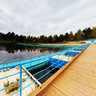 Pontoon bridge to the island on Lake Schibot. GP Borovka, Vitebsk, Lepel district. 360° spherical panorama.