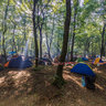 Paid encampment in the woods at the festival Zakhid 2014