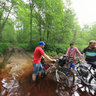 Crossing the wade with bicycles
