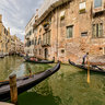Venice - Gondola traffic at Rio S. Zulian