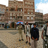 Curious observers in quarter Bab Al-Yemen in Sana'a - Yemen