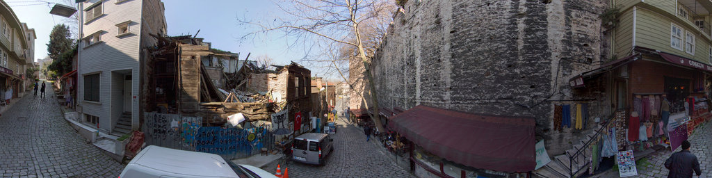 Collapsed wooden house and Topkapi wall, Istanbul