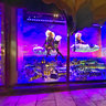 Mini London in Harrods window at night London England