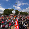Paris goes on strike! Manifistation against the new retirement law going through the Place de la Bastille.