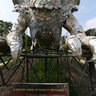 Recycled dragon installation at the Jardin des Plantes (Botanical garden)