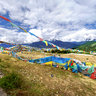 the Tibetan Prayer Flag on Biri Sacred Mountain Nyingtri