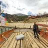 Tibet Nyingchi Yaluzangbu River Great Canyonjiala village Ferry boat