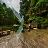 Henan Jiaozuo World Geological Park Yuntai Mountain 5Misty rain in the quiet lake