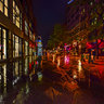 City of Denver Colorado United States——Rainy night in the street