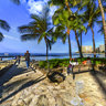 Waikiki beach Hawaii Honolulu United States——The most beautiful Coconut forest and beach