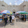 Temporary bazzar in the front of Damascus Gate, Jerusalem