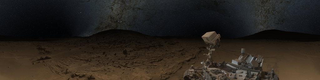 Mars Panorama - Curiosity rover selfie: Martian night
