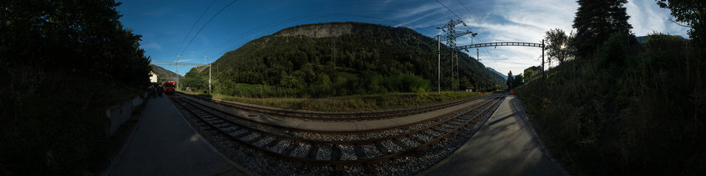Waiting for the Train in Mörel