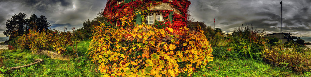 Colorful Farm House in Autumn