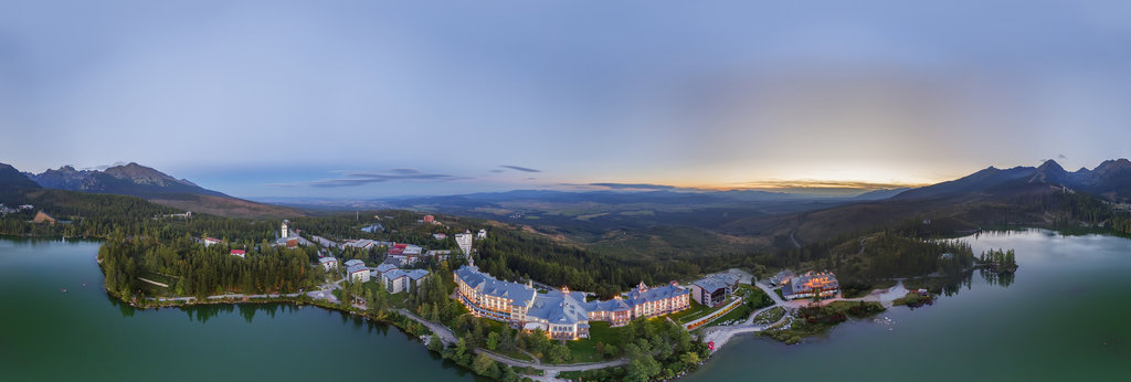 Aerial view Štrbské Pleso with the Hotel Kempinski