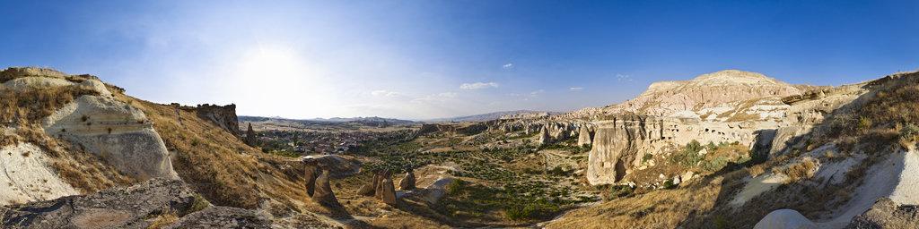 tuff rock landscape near Çavuşin, Cappadocia, Turkey