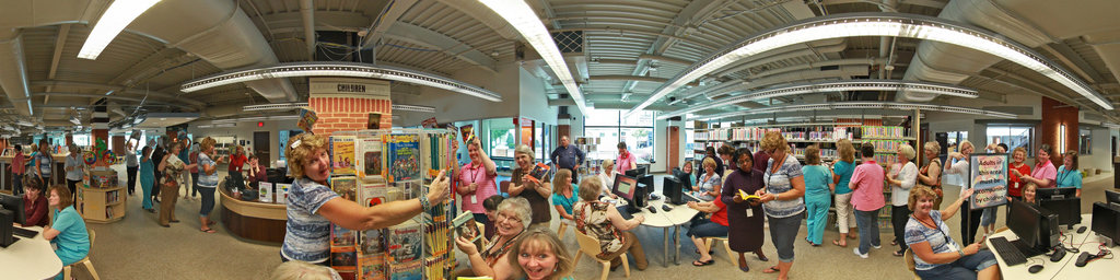 Librarians getting ready for the grand opening.